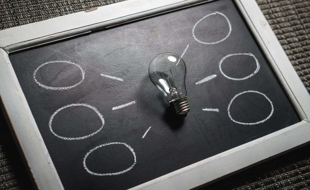 a blackboard with a glass lightbulb in the centre, in the areas around it are 3 thought bubbles chalked on the right and another set on the left