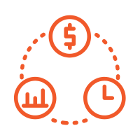 a simplified circular diagram with three entries laid out with a dotted line leading from one to the next representing the marketing mix