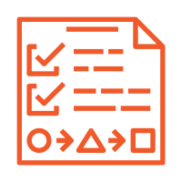 an icon representing marketing routes - orange square with two ticked entries and a diagrem with arrows leading from one entry to the next and so forth